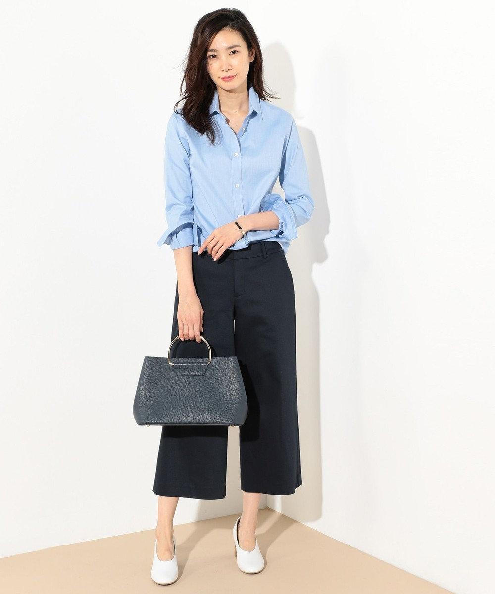 J.PRESS LADIES 【洗える!】スビンゴールド レギュラーカラーシャツ サックスブルー系