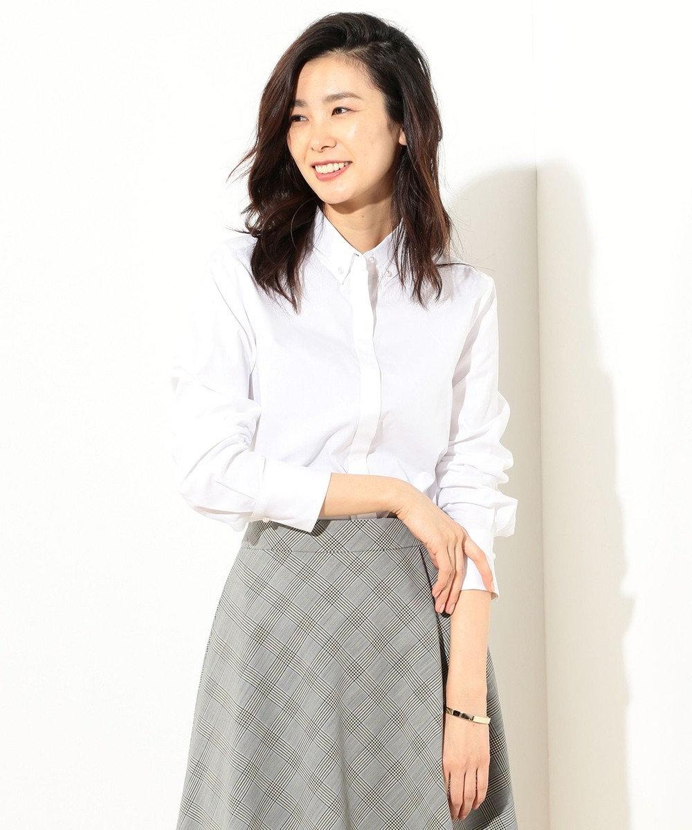 J.PRESS LADIES 【洗える!】スビンゴールド パールボタンシャツ ホワイト系