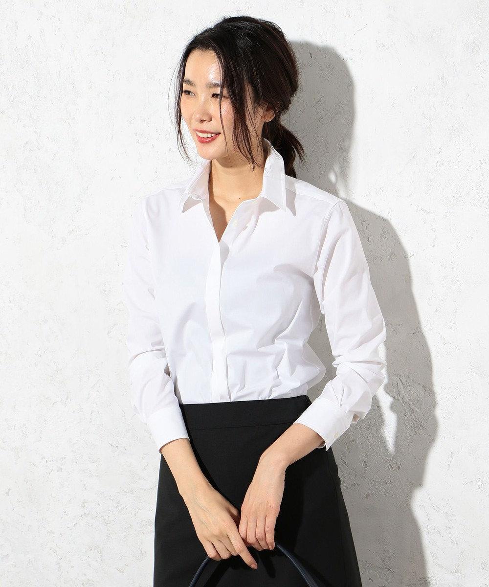 J.PRESS LADIES 【洗える!】コットンハイパワーブロード レギュラーカラーシャツ ホワイト系
