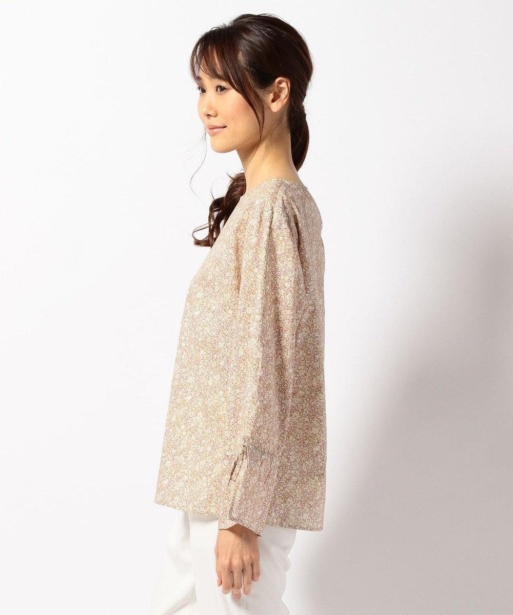 J.PRESS LADIES S 【洗える】リバティプリント 袖リボンブラウス ローズ系5