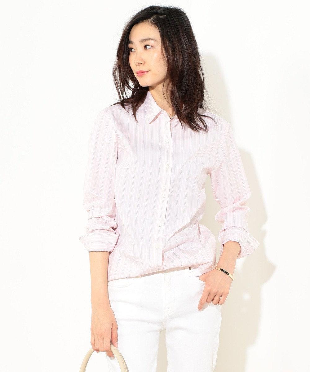 J.PRESS LADIES S 【洗える】コットンストライプ レギュラーカラーシャツ ピンク系1