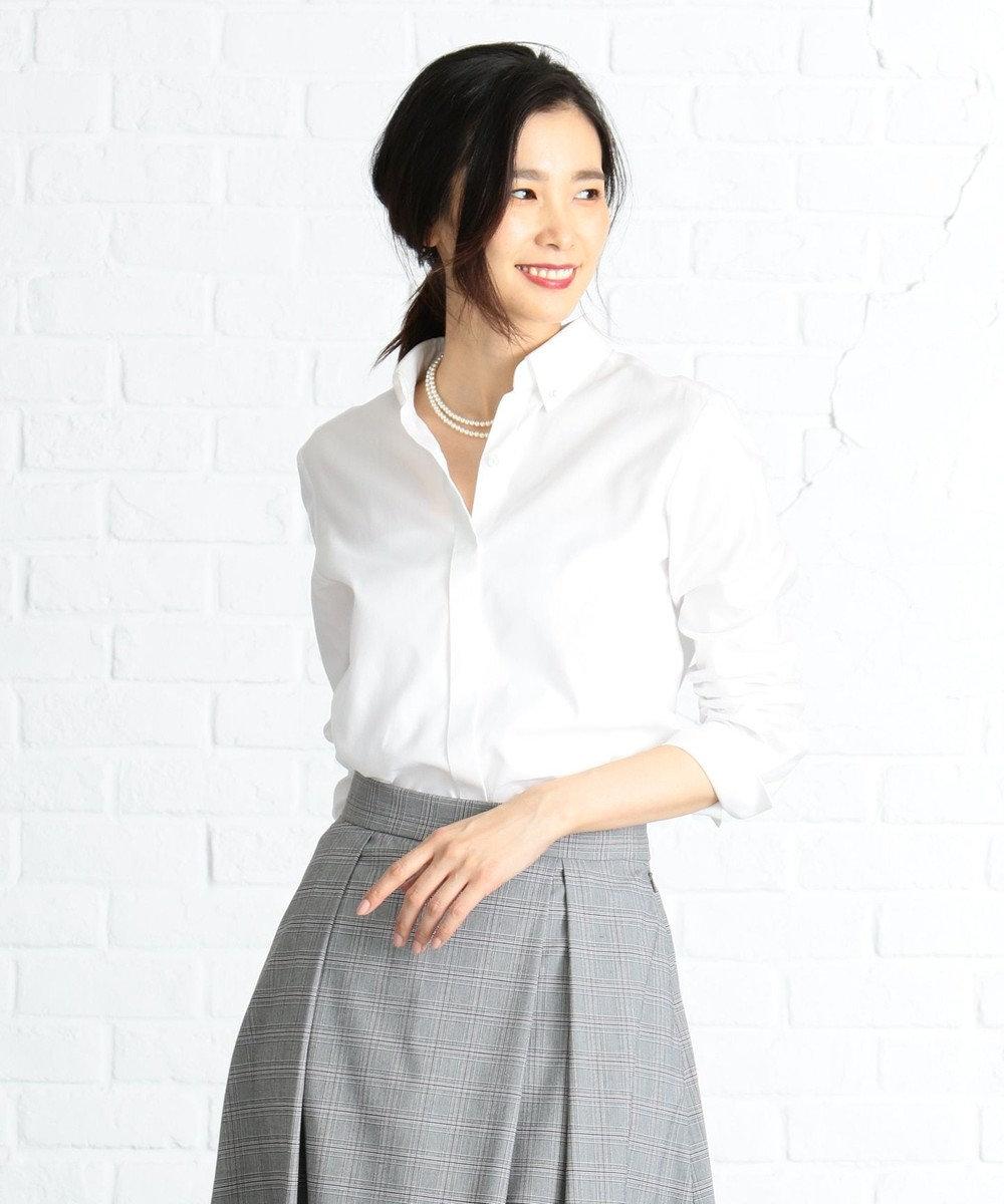J.PRESS LADIES S 【洗える】100/2オックス シャツ ホワイト系