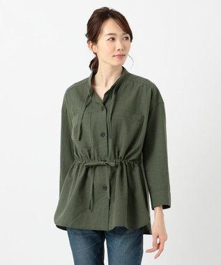 SHARE PARK LADIES リネン混ウエストドロストシャツ カーキ系