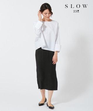 23区 【SLOW】コットン ノーカラー シャツ ホワイト系