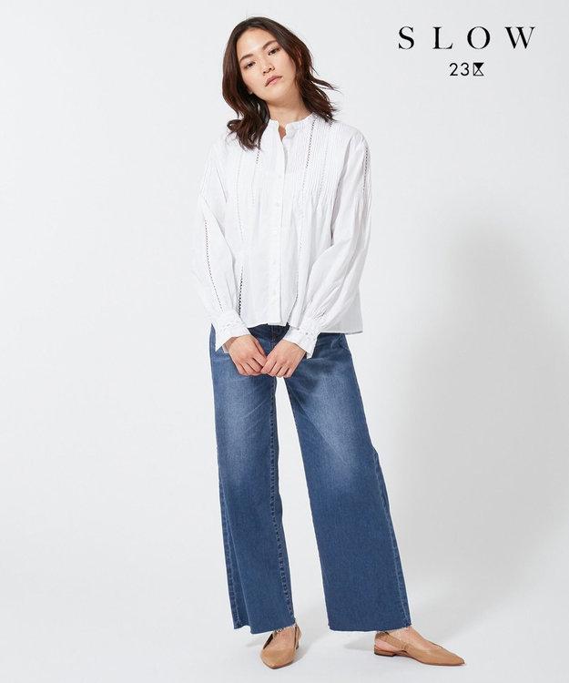 23区 【SLOW】カットワーク コットンブラウス