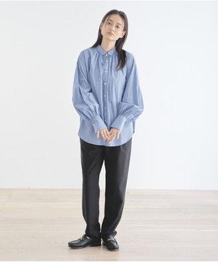 #Newans 【マガジン掲載】AUDREY/イタリアンカラーシャツ(番号NF46) サックスブルー系