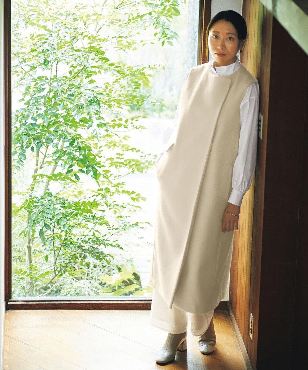 #Newans 【マガジン掲載】SOPHIE/ スタンドカラーシャツ(番号NW38) ホワイト系