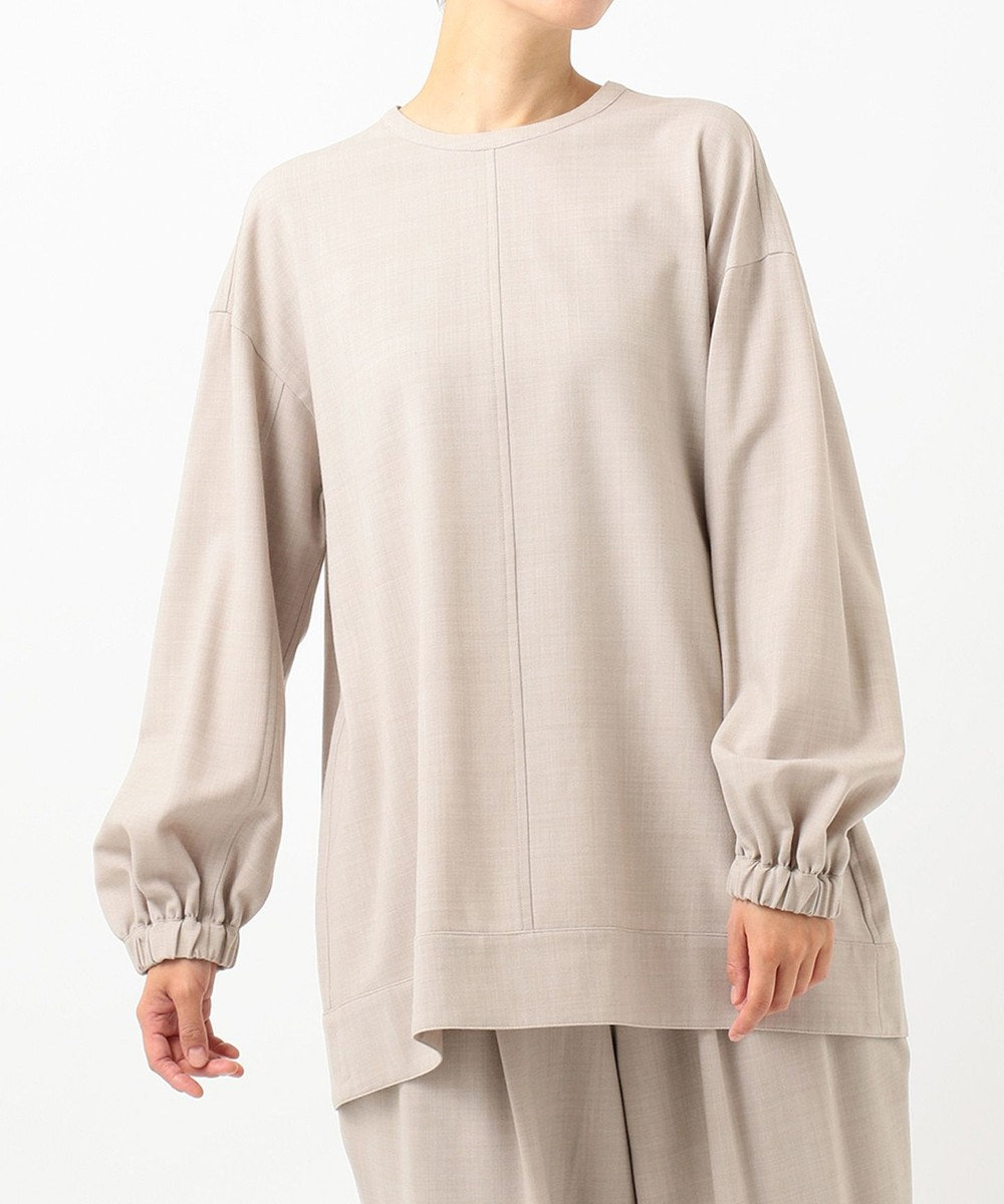 #Newans 【洗える】ウール混ソフトストレッチスモックシャツ グレージュ系