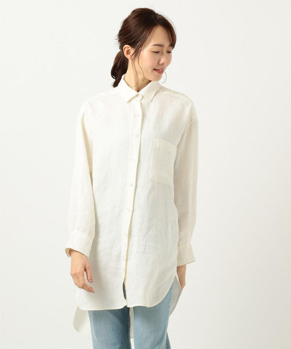 23区 【SLOW】LINEN TWILLロングシャツ アイボリー