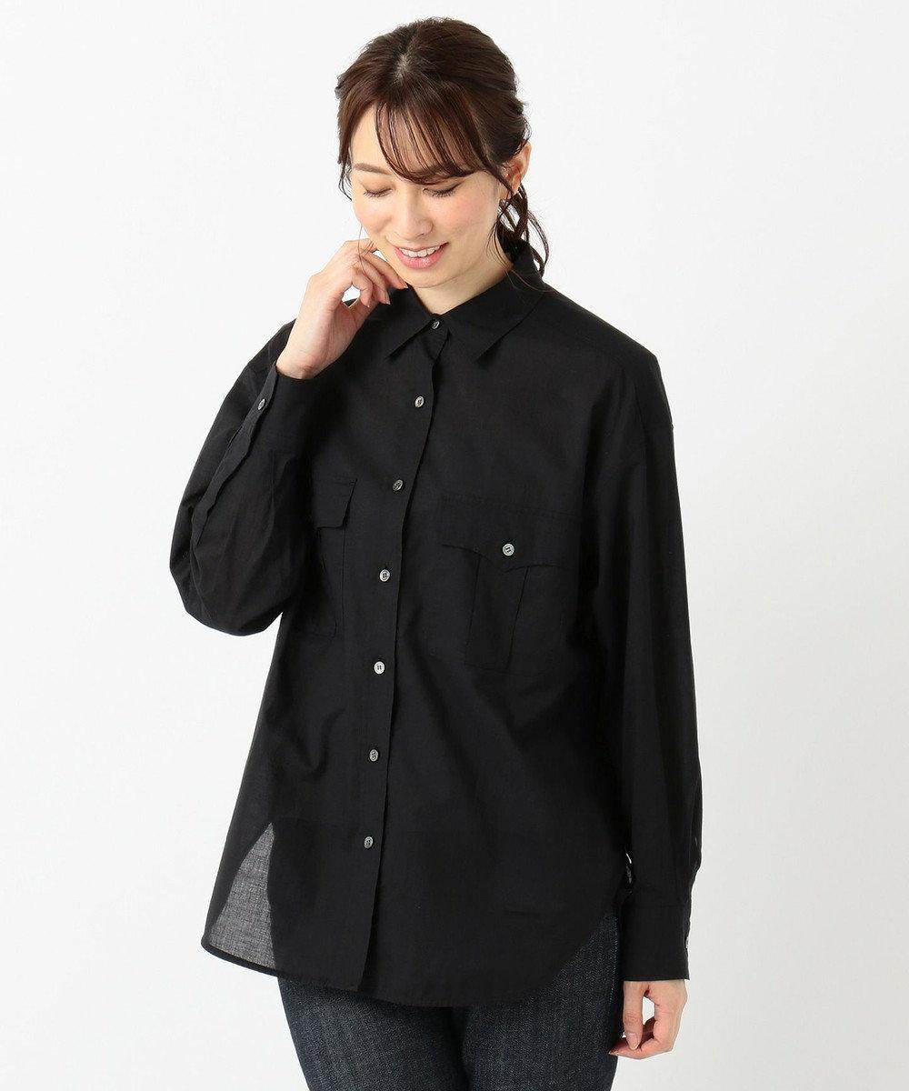 23区 【SLOW】COTTON LAWN シャツ ブラック系