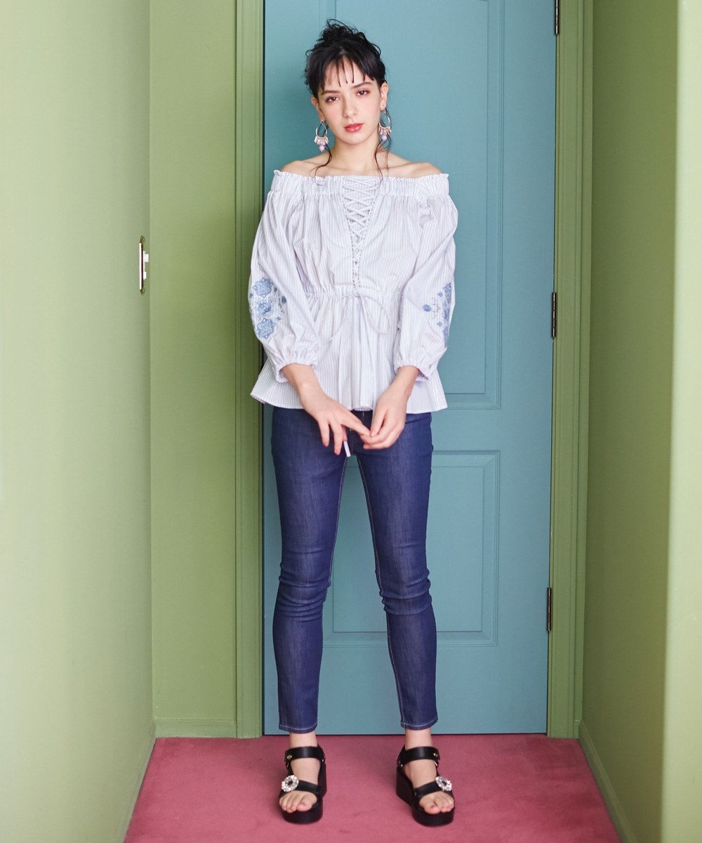 TOCCA 【TOCCA LAVENDER】Stripe Embroidery ブラウス ライトグレー系1