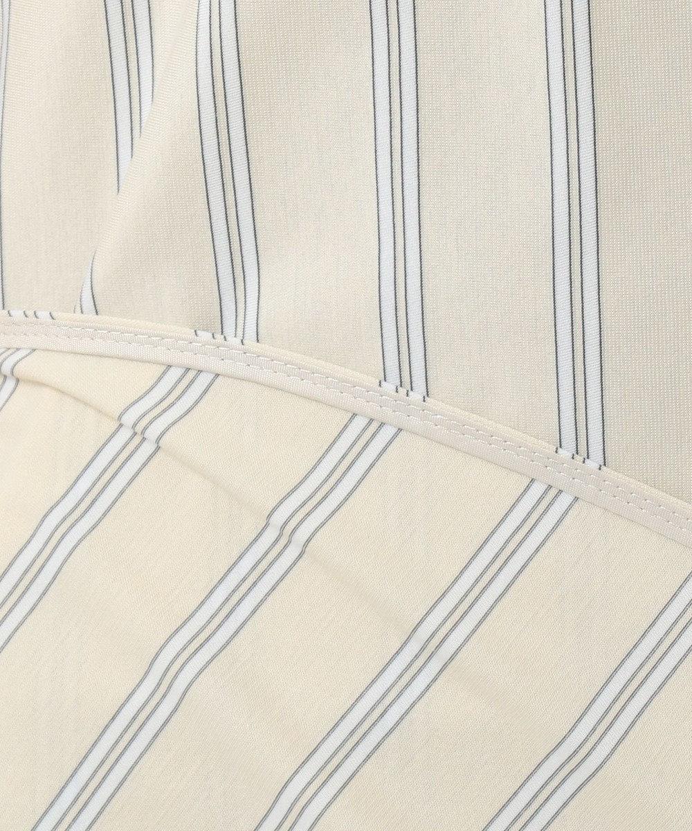 自由区 L 【洗える】ストライプジャージー チュニック丈ブラウス ライトイエロー系1