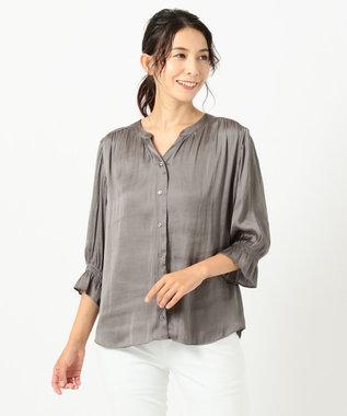 自由区 【新色追加・洗える】ギャザーサテン ブラウス カーキ系