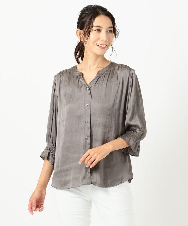 自由区 【新色追加・洗える】ギャザーサテン ブラウス