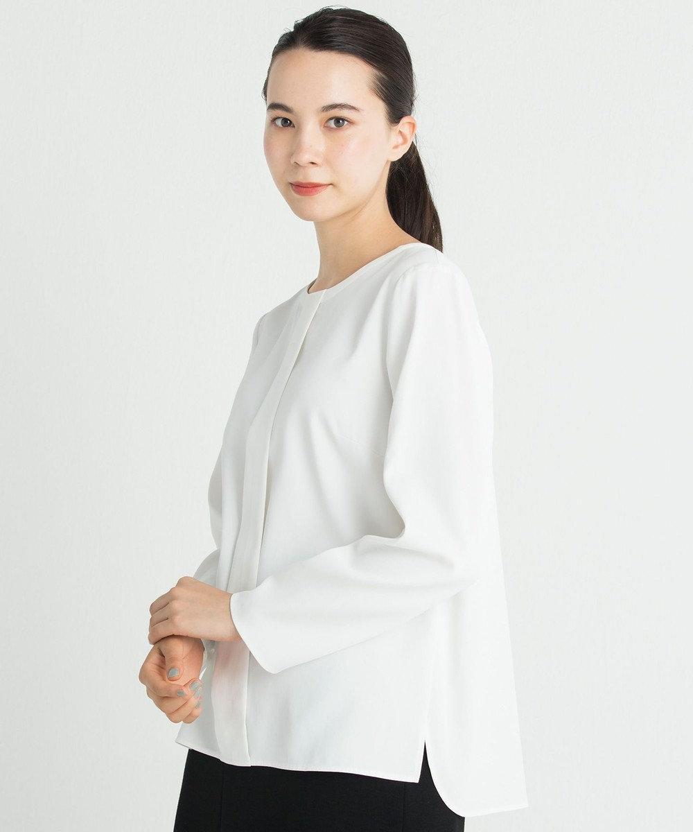 自由区 【洗える】CUPRA COTTON CLOTH ブラウス ホワイト系