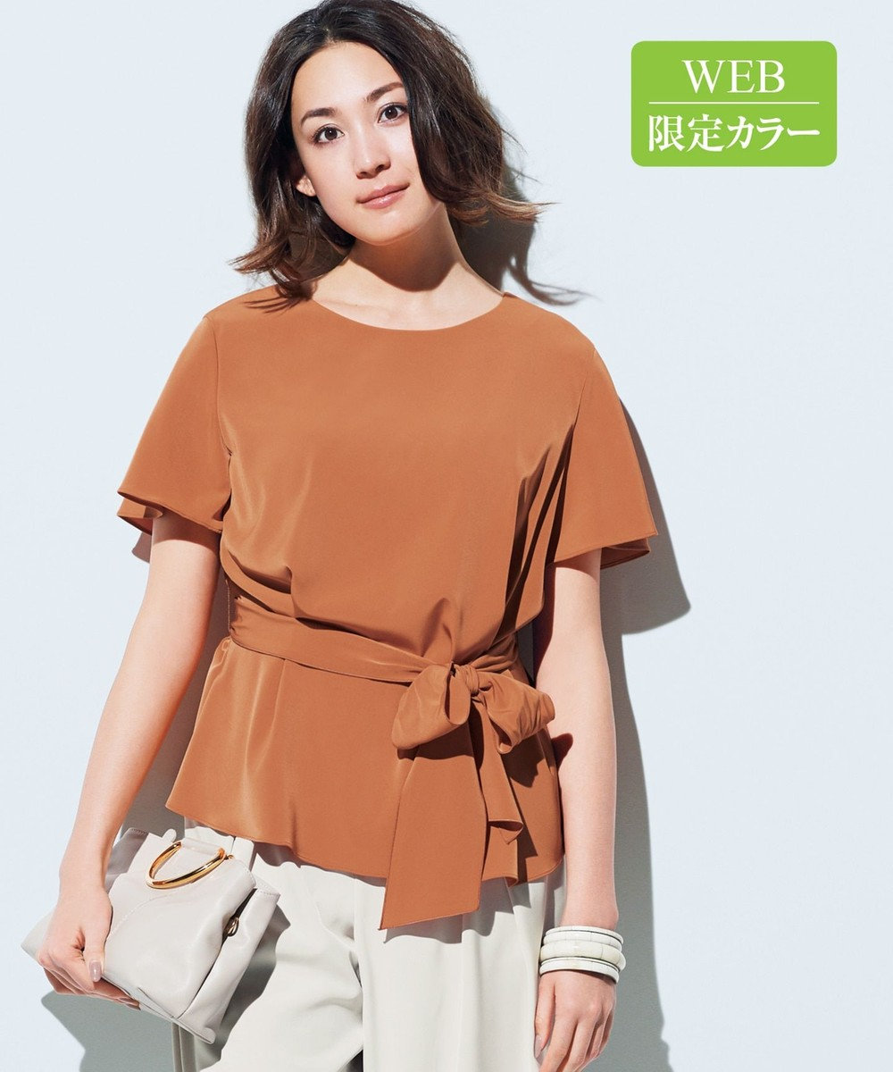 自由区 L 【マガジン掲載】NOIE ストレッチ ベルト付きブラウス(検索番号D25) ブリックオレンジ