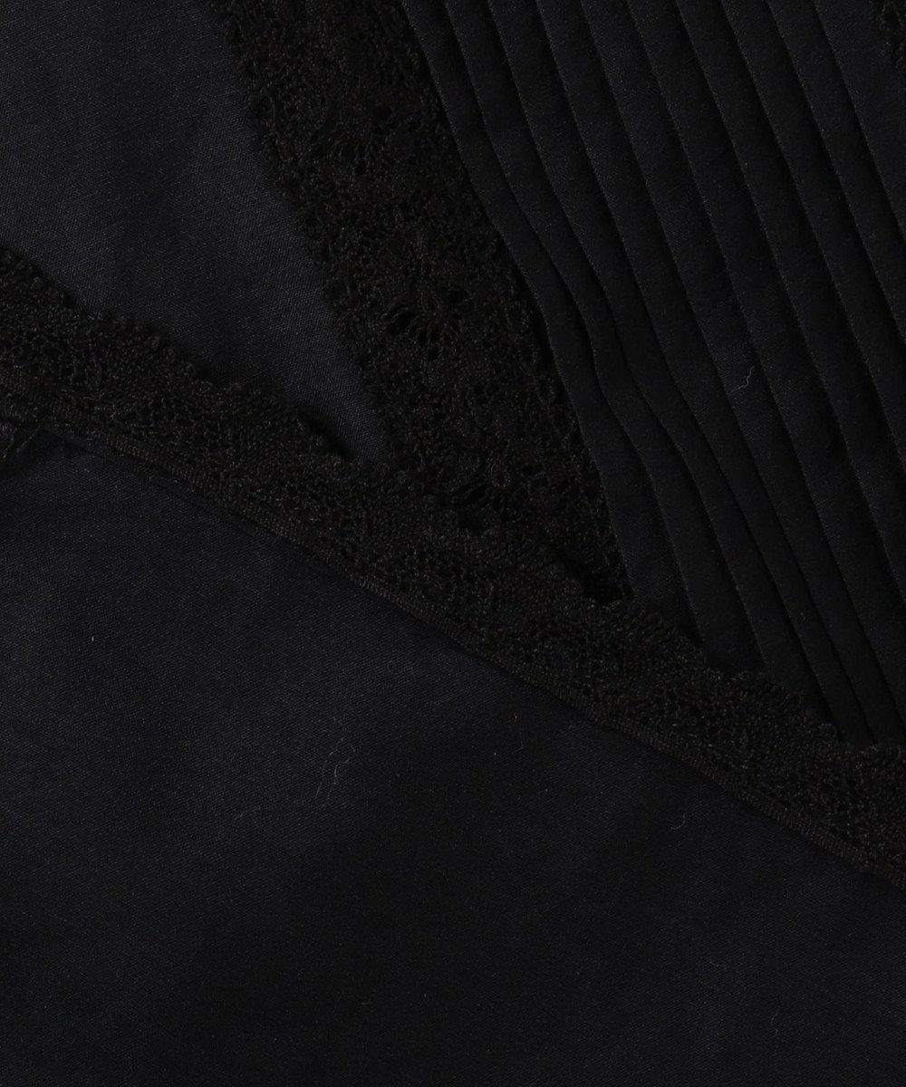 23区 【洗える】シルクコットンローンデザインブラウス ブラック系