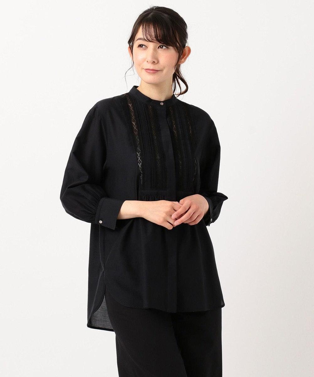 23区 【洗える】シルクコットンローンパフスリーブブラウス ブラック系