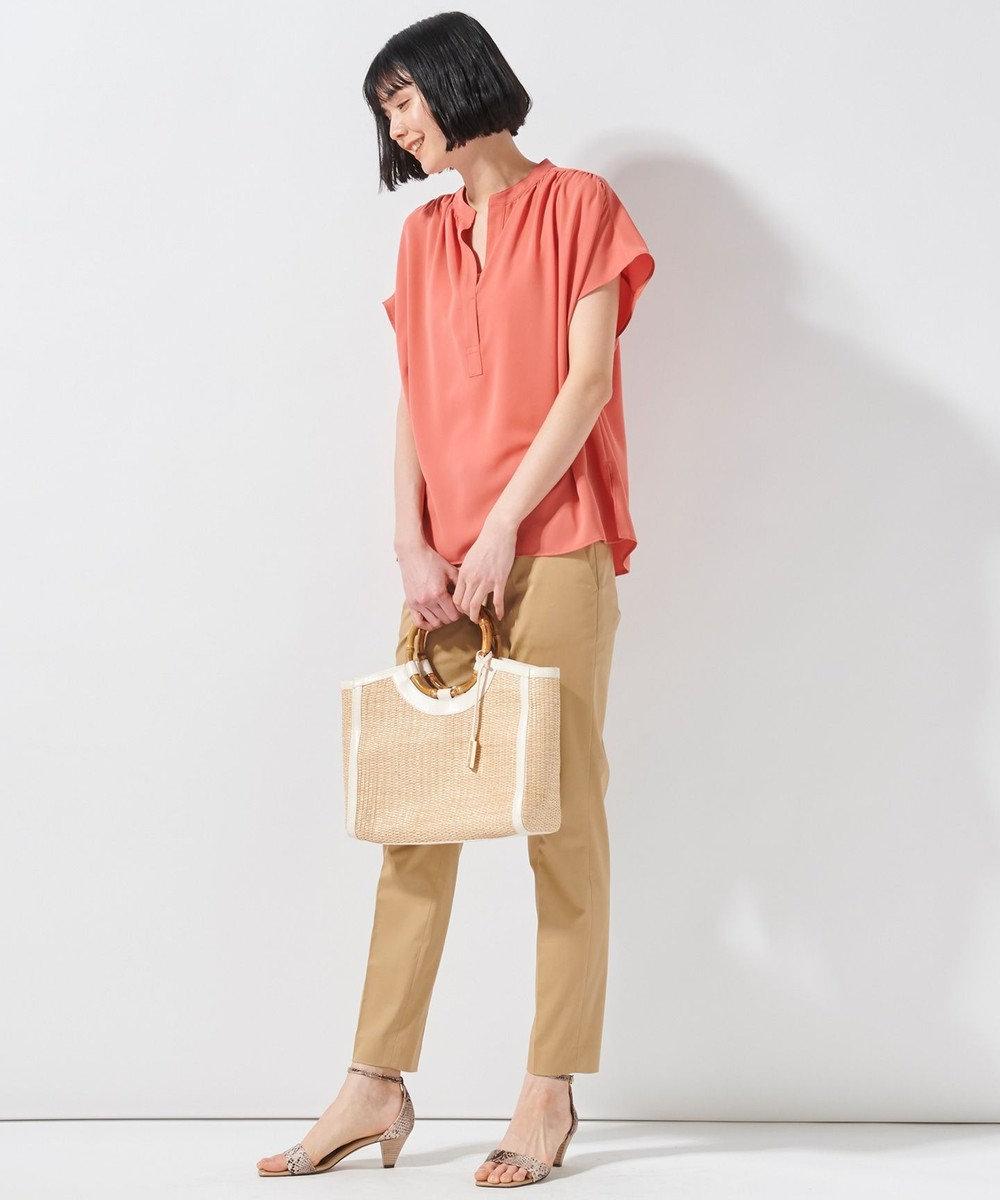 23区 【洗える】パウダリージョーゼットブラウス オレンジ系
