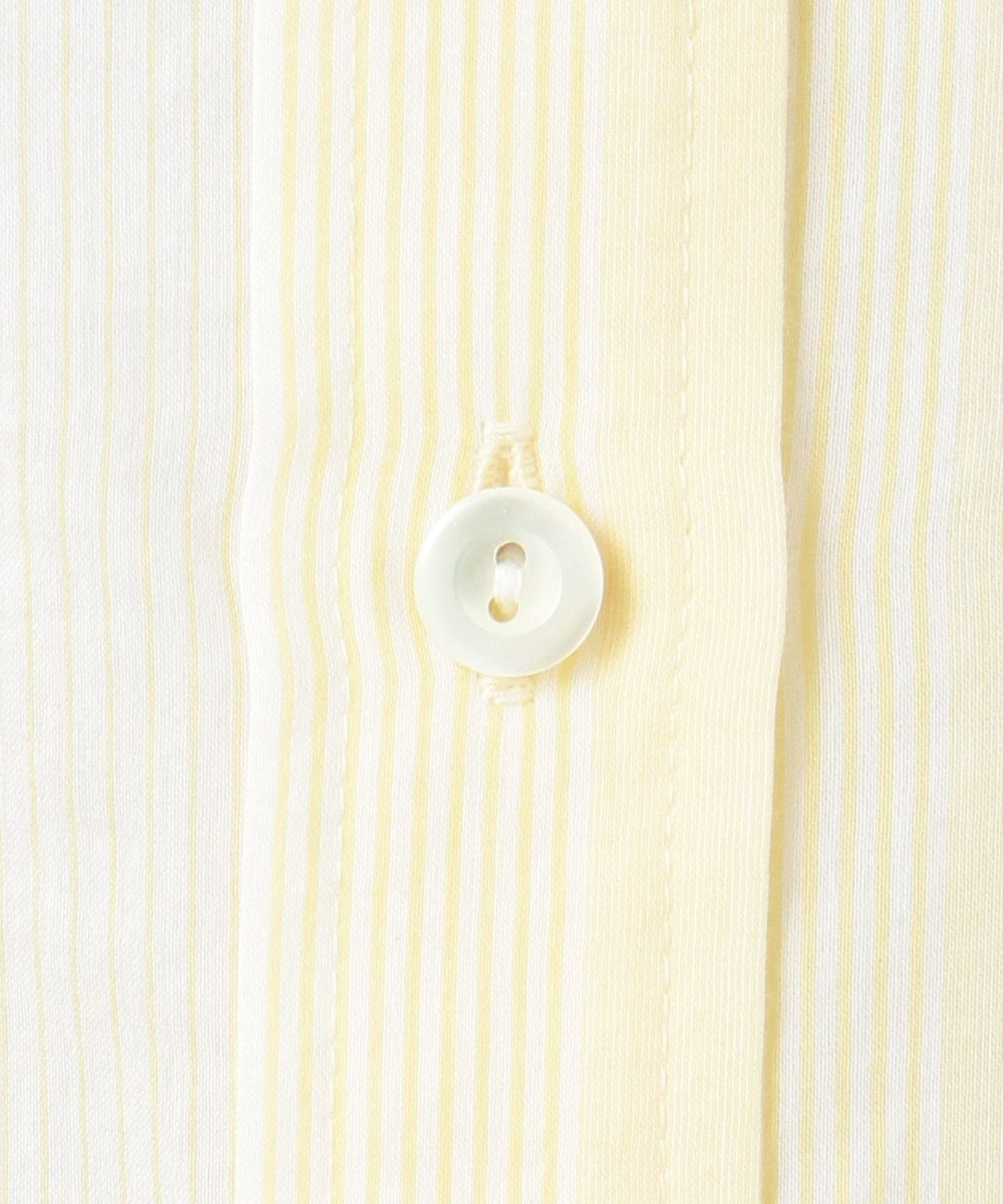 23区 L 【洗える】シルクコットンストライプチュニックシャツ イエローストライプ