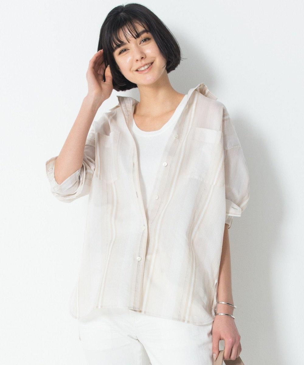 23区 L 【洗える】シルクコットンストライプチュニックシャツ ベージュストライプ