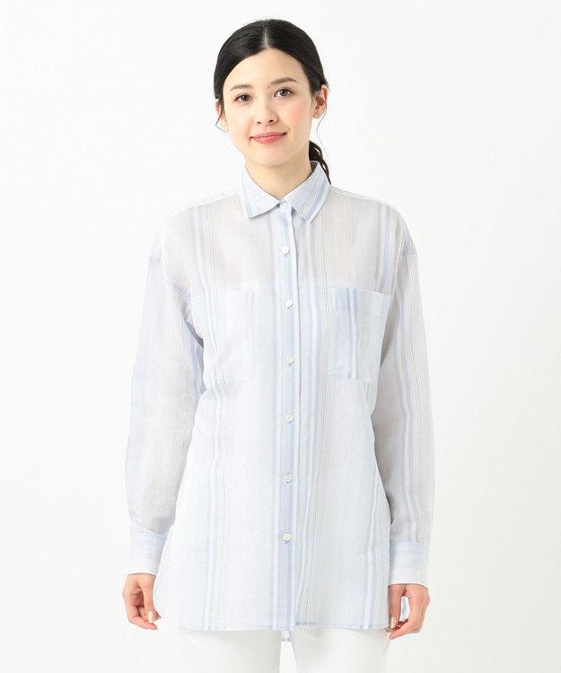 23区 L 【洗える】シルクコットンストライプチュニックシャツ