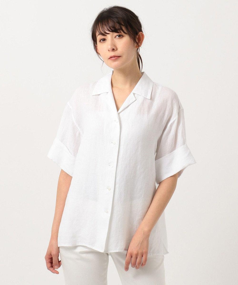 23区 L 【洗える】LIBECO LINEN開襟シャツ ホワイト系