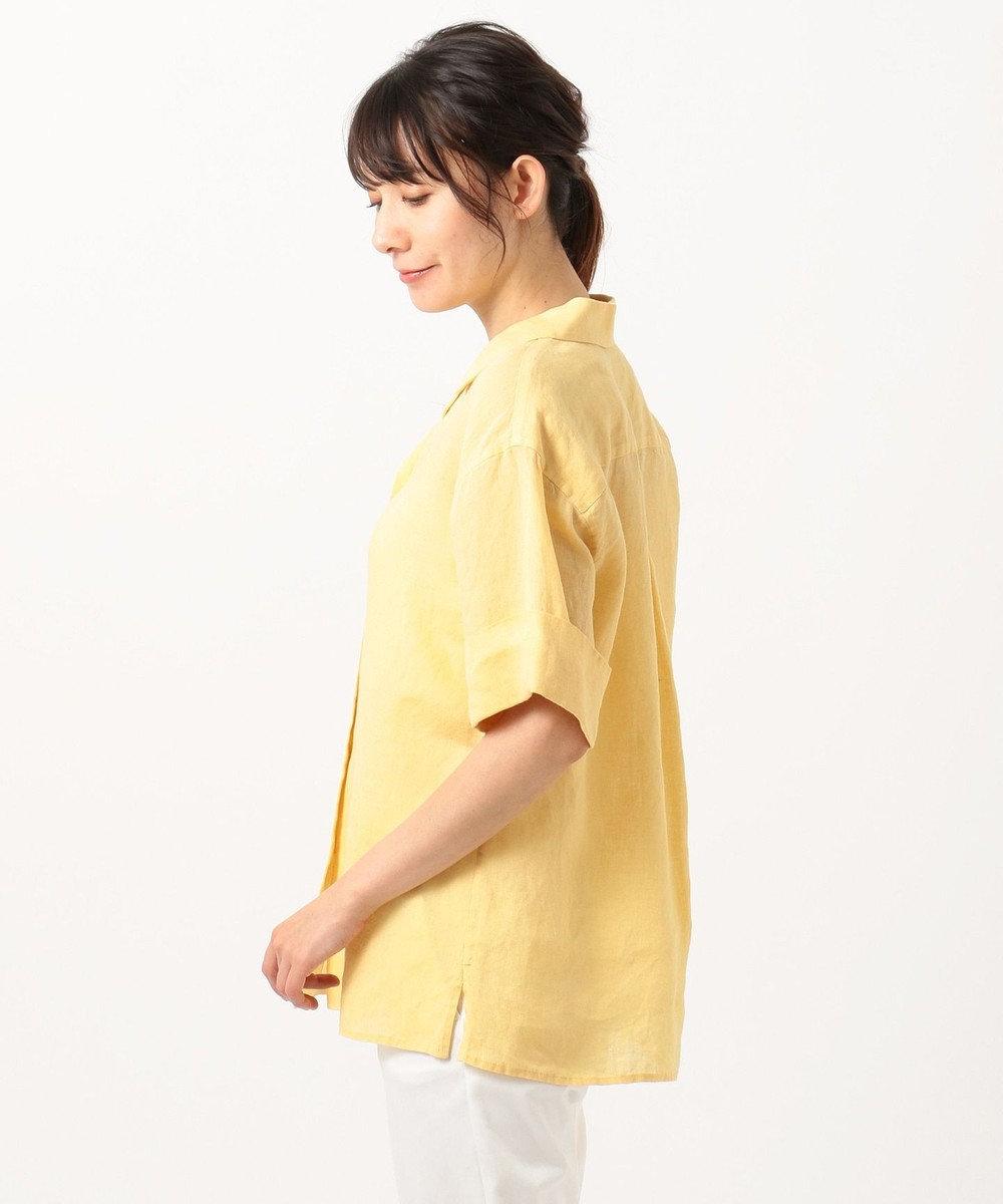 23区 L 【洗える】LIBECO LINEN開襟シャツ ライトイエロー系