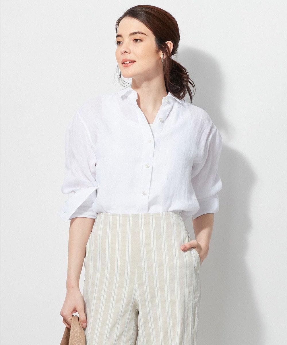 23区 L 【洗える】LIBECO LINENシャツ ホワイト系