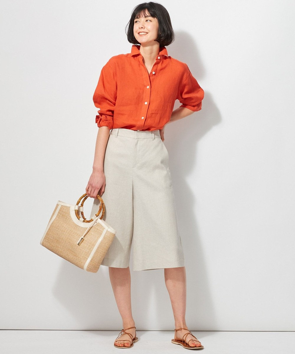 23区 L 【洗える】LIBECO LINENシャツ オレンジ系