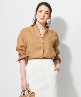23区 L 【洗える】LIBECO LINENシャツ キャメル系