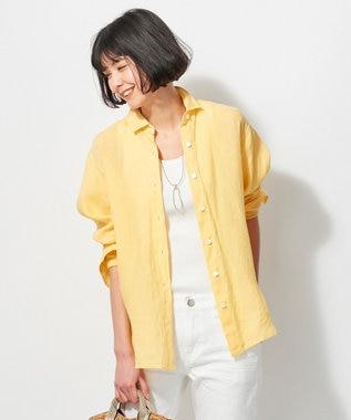 23区 L 【洗える】LIBECO LINENシャツ ライトイエロー系
