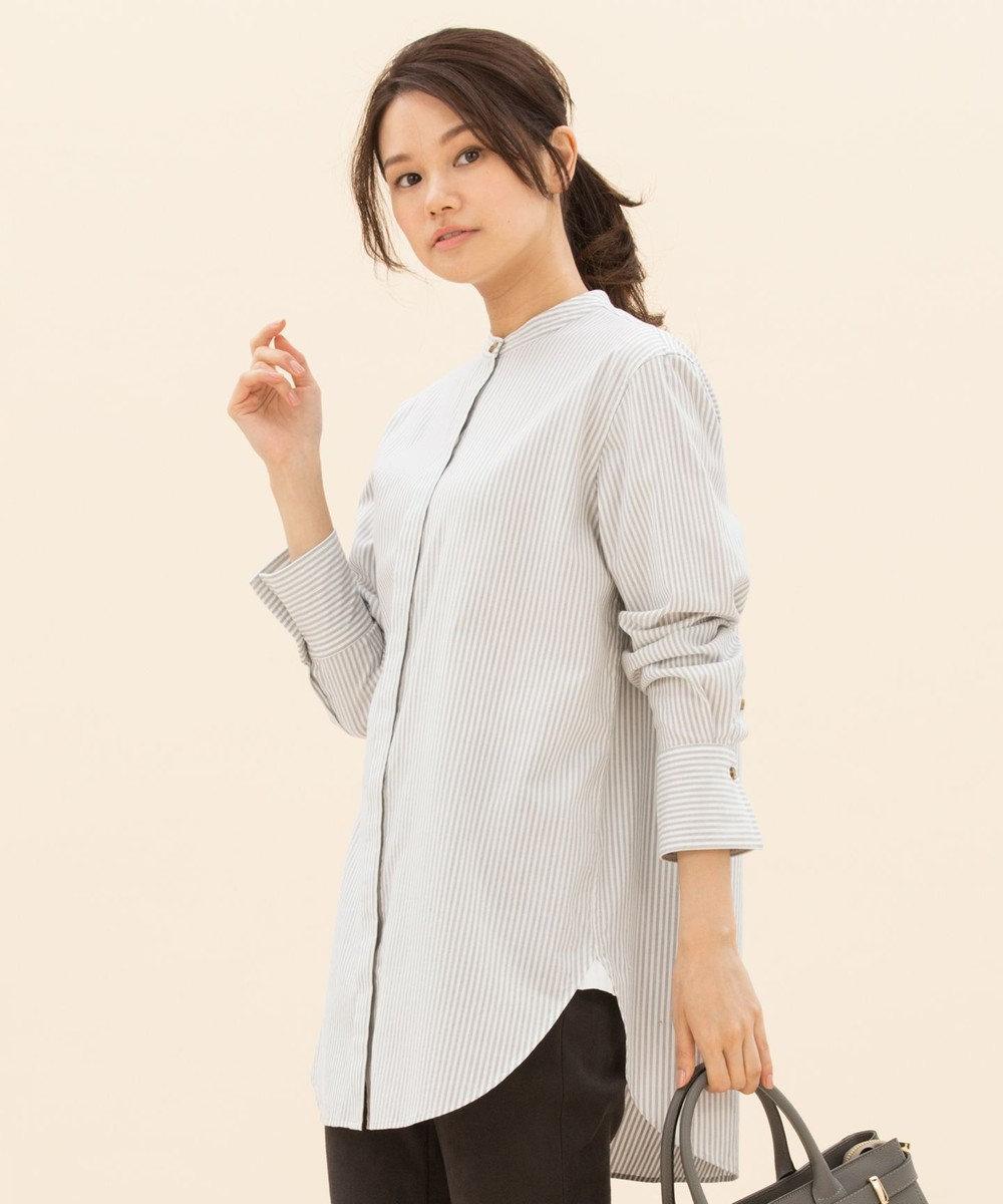 23区 【マガジン掲載】CANCLINI スタンドカラーストライプシャツ(検索番号F24) ライトグレー系1