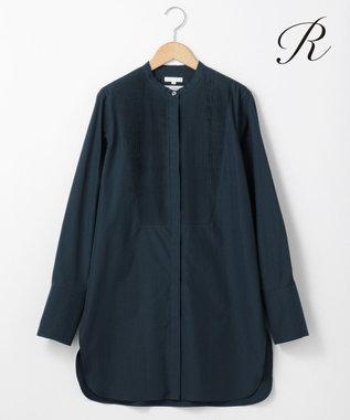 23区 【R(アール)】THOMAS MASON SHIRTING バンドカラーシャツ(検索番号R24) ネイビー系