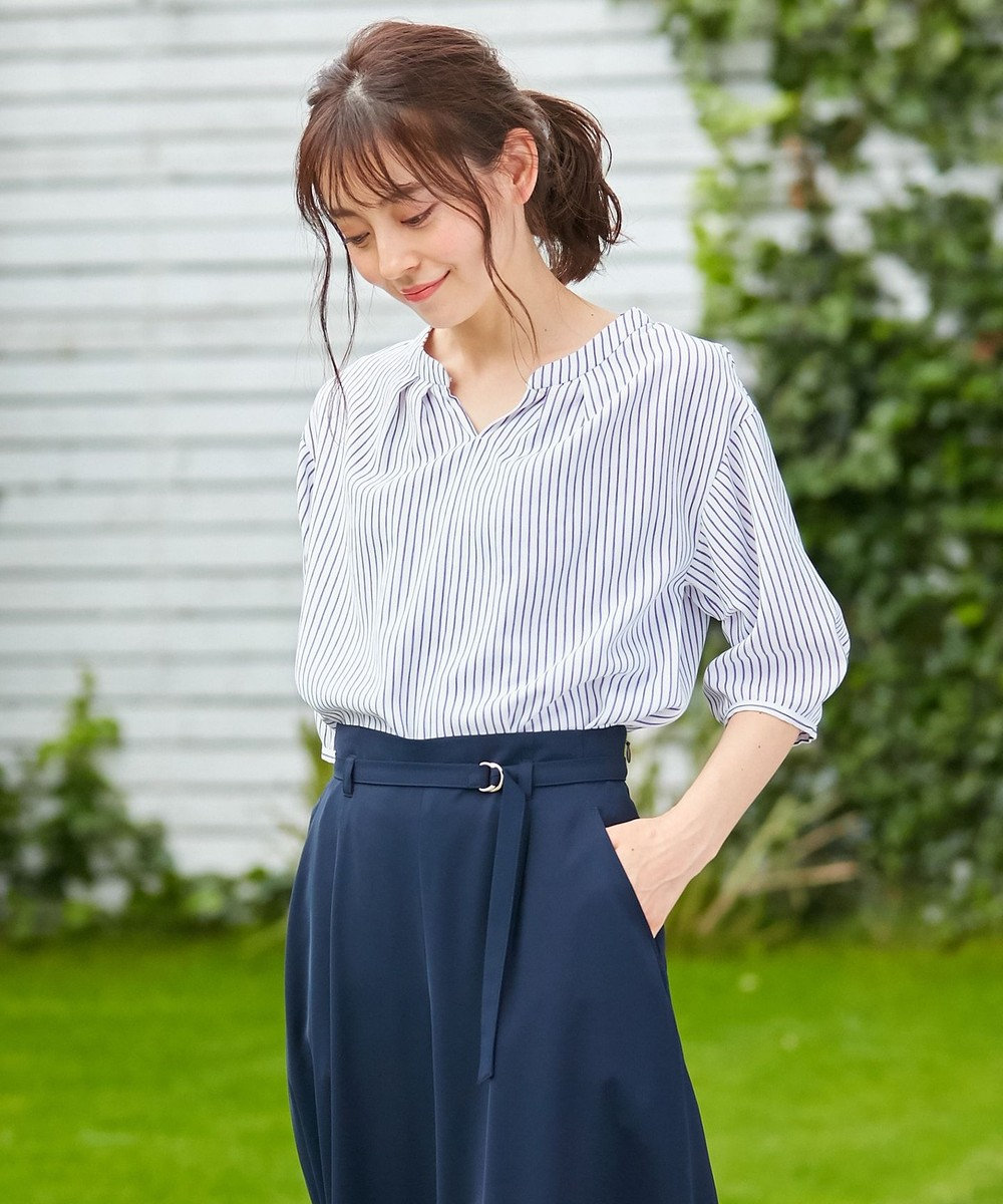any SiS L 【洗える】スラブジャガードストライプ ブラウス オフホワイト×ブルー