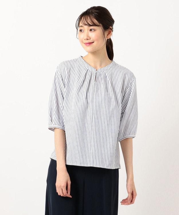 any SiS L 【洗える】スラブジャガードストライプ ブラウス