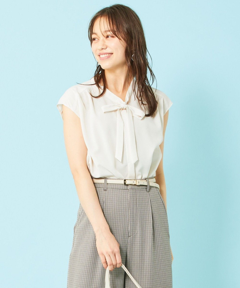 any SiS 【美人百花8月号掲載】ボウポイント フレンチスリーブ ブラウス アイボリー
