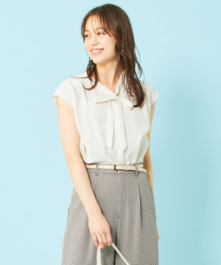 any SiS L 【美人百花8月号掲載】ボウポイント フレンチスリーブ ブラウス アイボリー