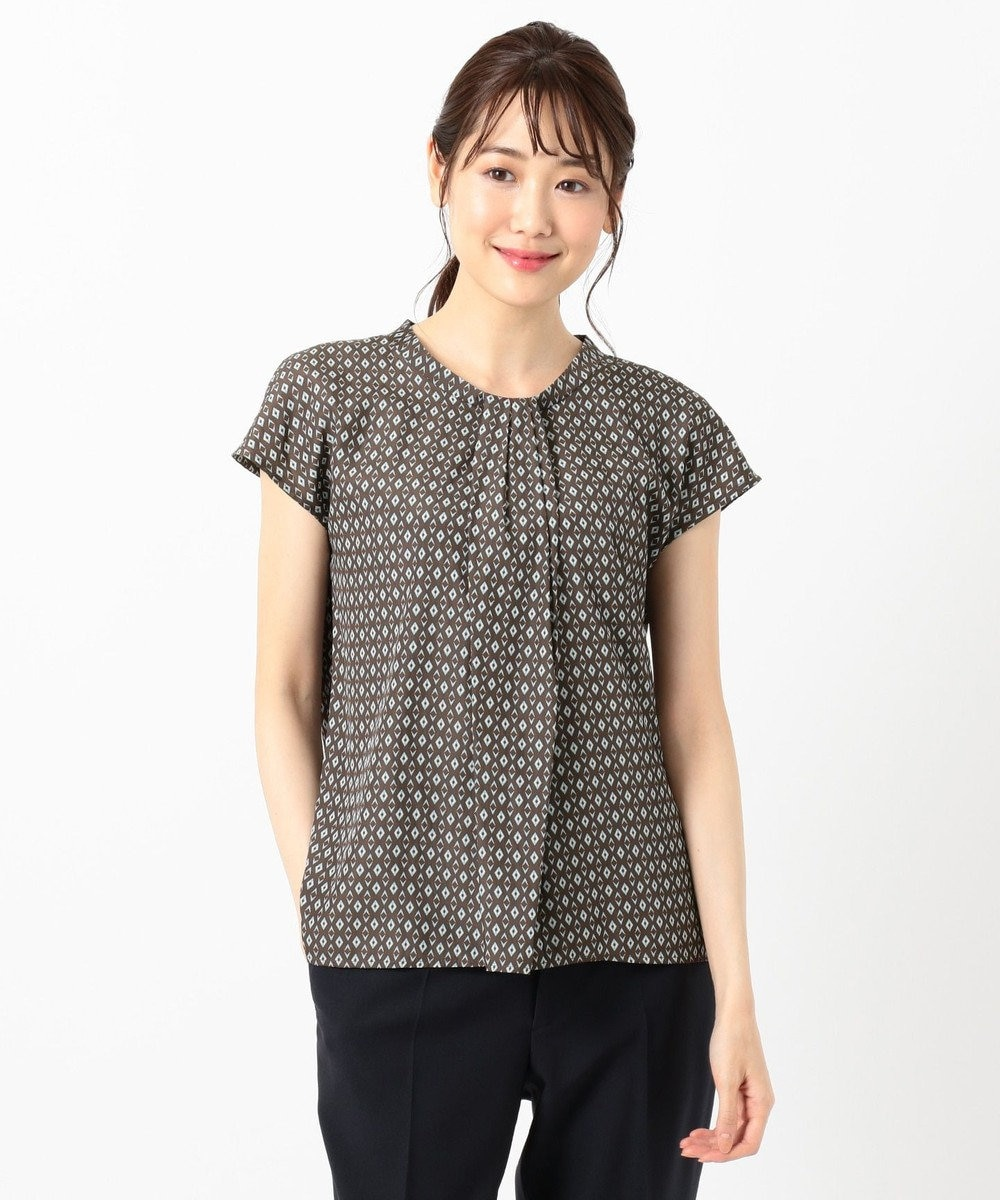 any SiS L 【洗える】幾何小紋プリント ブラウス ブラウンベース