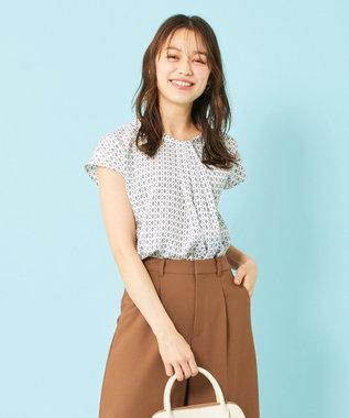 any SiS L 【洗える】幾何小紋プリント ブラウス アイボリーベース