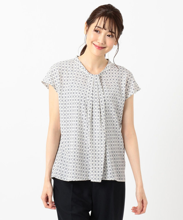 any SiS L 【洗える】幾何小紋プリント ブラウス