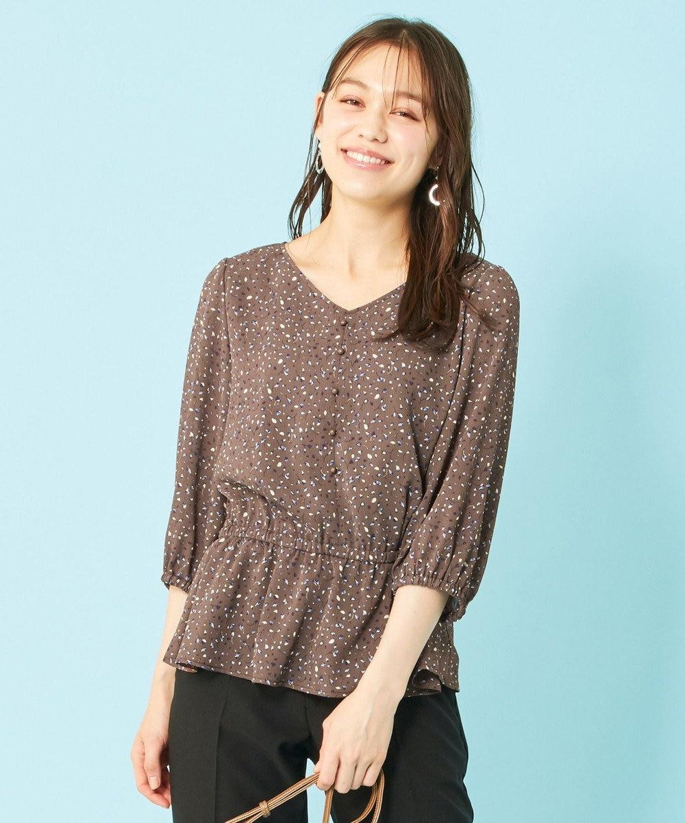 any SiS S 【洗える】楊柳プリント ブラウス モカベース