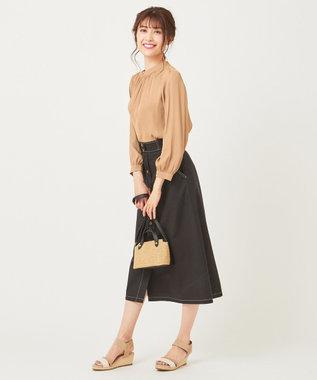 any SiS S 【美人百花3月号掲載】スタンドカラー ブラウス キャメル