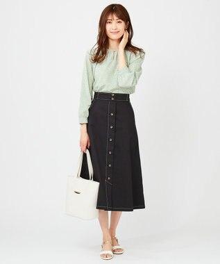 any SiS S 【美人百花3月号掲載】ギャザーネックリーフプリント ブラウス ミント