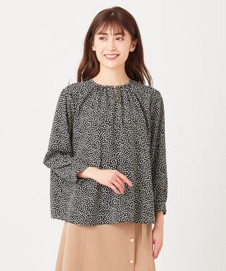any SiS S 【美人百花3月号掲載】ギャザーネックリーフプリント ブラウス ブラック