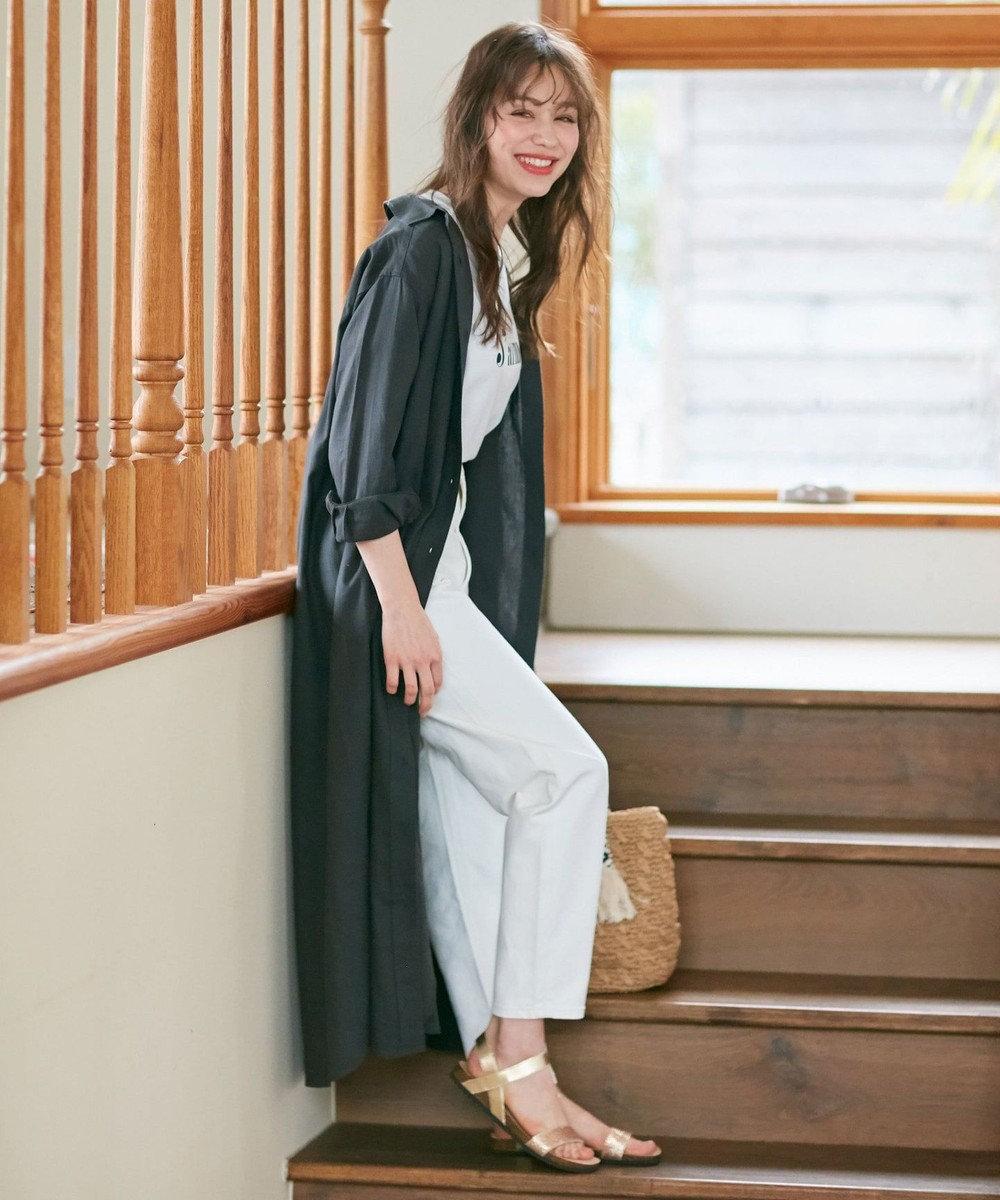 any SiS 【L'aube】リネンレーヨンシャツ ワンピース チャコール