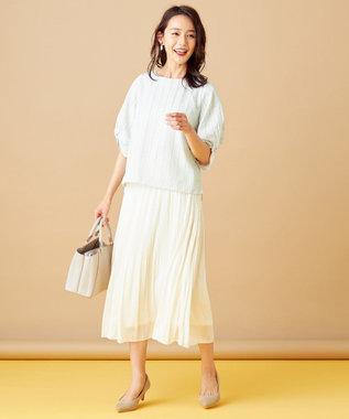 any SiS L 【洗える】カラミストライプ ブラウス オフホワイト×ミント