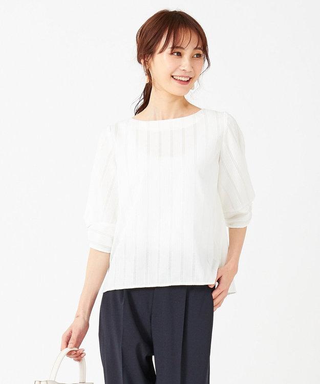 any SiS L 【洗える】カラミストライプ ブラウス