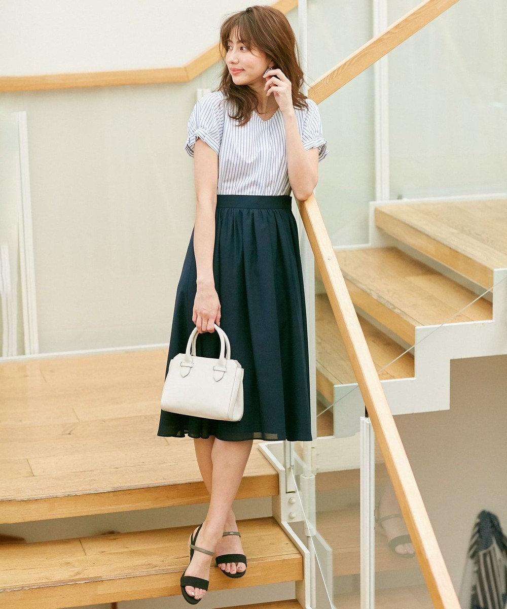 any SiS L 【テレワークにも】コットン/キュプラタックスリーブ ブラウス ネイビーストライプ