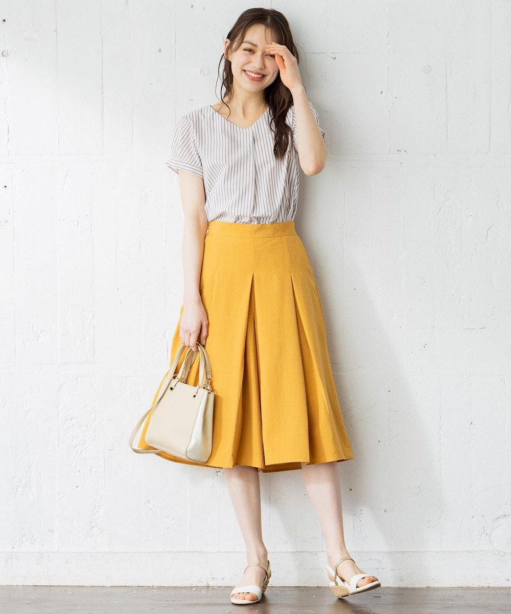 any SiS L 【テレワークにも】コットン/キュプラタックスリーブ ブラウス ブラウンストライプ
